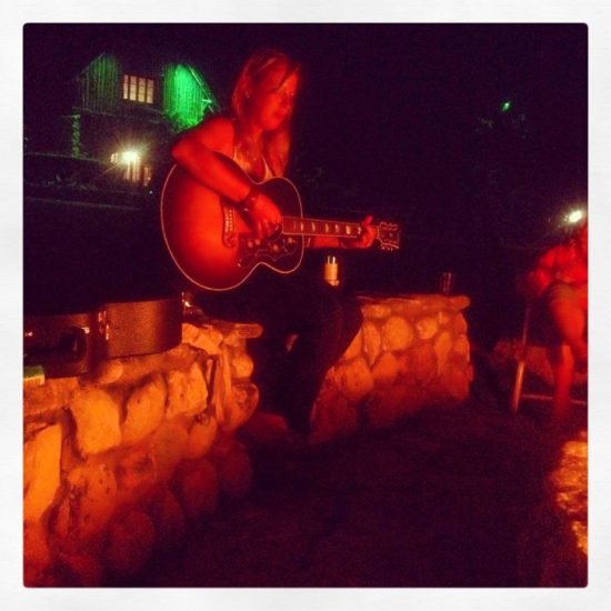 most evenings we sit around the campfire and sing along with in-house Rock Star Mandy Rowden.
